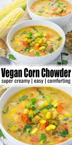 This vegan corn chowder with potatoes is super creamy and so comforting It s the perfect soup for spring and summer Besides it makes such a great and healthy vegan dinner And it s very budget-friendly Find more easy vegan recipes at Vegan Dinner Recipes, Delicious Vegan Recipes, Veggie Recipes, Whole Food Recipes, Healthy Recipes, Recipes With Potatoes Vegetarian, Summer Soup Recipes, Summer Vegetarian Recipes, Healthy Potatoes