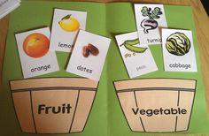 Fruit And Vegetables Preschool Activities File Folder 54 Super Ideas File Folder Activities, File Folder Games, Sorting Activities, Activities For Kids, File Folders, Nursery Activities, Fruits And Vegetables Pictures, Vegetable Pictures, Fruits And Veggies