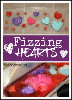 Fizzing Hearts Activity -kids will love watching these hearts bubble up and fizz all over! It's a fun sensory activity and great for using fine motor skills. day crafts for kids toddlers Fizzing Hearts Activity Valentine Sensory, Valentine Theme, Valentines Day Activities, Valentines Day Party, Valentines For Kids, Valentine Day Crafts, Craft Activities, Preschool Ideas, Science Valentines