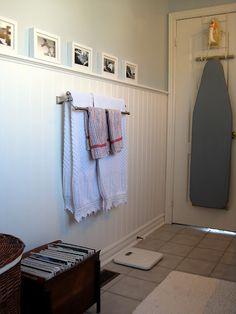 Like the color w white.  Like pics on molding (long wall)   Sense and Simplicity: Bathroom Reveal