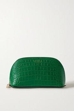 Smythson - Mara Croc-effect Leather Cosmetics Case - Forest green Smythson, Crocodile Skin, Personal Shopping, Cosmetic Case, Beauty Essentials, World Of Fashion, Luxury Branding, Crocs, Calves