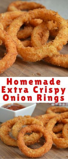How To Make Perfect, Extra Crispy Homemade Onion Rings From Scratch Onion rings are one of my favorite appetizers to make – especially for game time parties and more. Not only are these onion rings easy to make, but they are extra crispy and delicious! Homemade Onion Rings, Baked Onion Rings, Easy Onion Rings Recipe, Crispy Fried Onion Rings Recipe, Best Onion Ring Recipe, Healthy Onion Rings, Baked Onions, Crispy Onions, Dairy Free Appetizers