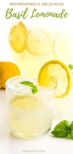 This Italian Basil Lemonade makes a great refreshing drink! Imagine a combination of fresh lemons and basil with sparking water — aah so refreshing!   #namelymarly #italianbasillemonade #basillemonade #vegan #lemonade