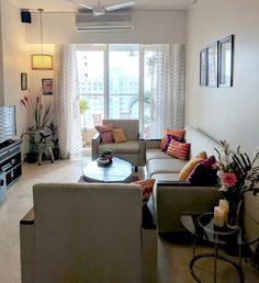 Em's Rental Living Room Reveal Before After – Indian Living Rooms Indian Living Rooms, Small Living Rooms, My Living Room, Living Room Interior, Home And Living, Living Room Decor, Modern Living, Home Room Design, Living Room Designs