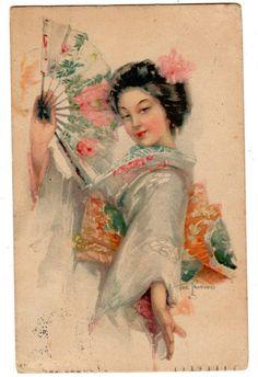 fine artistic geisha art | Art Deco Beautiful Geisha with Fan South African Postcard 1921 from ...