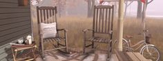 {what next} Bramley Rocking Chair for Fifty Linden Friday Pillow Fabric, Pillows, Rustic Chair, What Next, Virtual World, 3d Design, Rocking Chair, Outdoor Furniture, Second Life