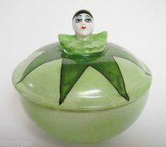 Vintage Art Deco Half Doll Related Pierrot Ladies Powder Bowl | eBay