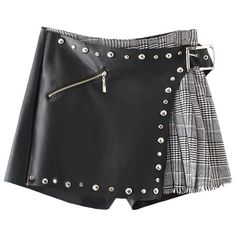 Plaid Rivet Faux Leather Shorts Black (2,130 INR) ❤ liked on Polyvore featuring shorts, skirts, bottoms, plaid shorts, tartan shorts, faux leather shorts and vegan leather shorts