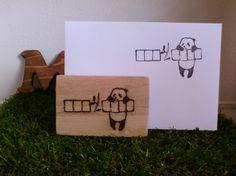 郵便枠消しゴムはんこです6x9cmの木材持ち手がつきます|ハンドメイド、手作り、手仕事品の通販・販売・購入ならCreema。