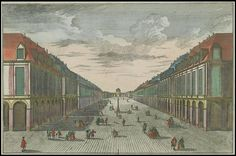 Projet d'une Place à St Petersbourg en Russie. zograscope prints - so beautiful and flat    View along an avenue in St Petersburg, Russia, 1740