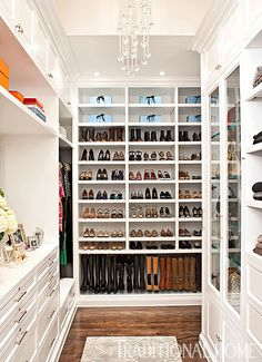 Every shoe and boot was measured before this incredible wall was designed to perfectly showcase each pair. - Photo: Michael Garland / Design: Lisa Adams