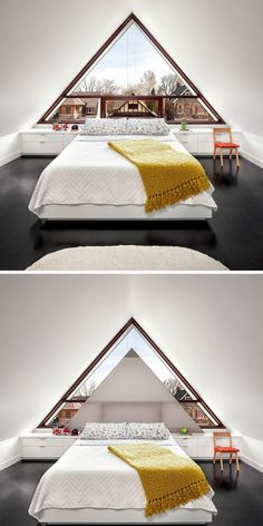 NoSillySuffix - [Room] Attic room replaces the gable with a large triangular glass window which features a custom-made triangular shade that retracts into a millwork unit in this home in Toronto, Canada. Loft Conversion Design, The Gables, Attic Rooms, Curtains With Blinds, Shutters, Ramen, House Plans, The Unit, Windows
