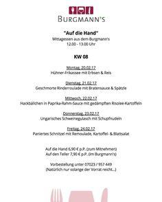 Mittagstisch in KW 08 20.02.-24.02.17  ____________________ #burgmanns #restaurant  #bistro #weilheim #weilheimteck #esslingen #stuttgart #kirchheim #kirchheimteck #göppingen #lecker #fleisch #fisch #veggie #steaks #bio #regional #saisonal #familienbetrieb #aufdiehand #aufdenteller #weilheimlebt #food #instafood #stimmungsbild #bismorgen #live #handwerk #menschbleiben