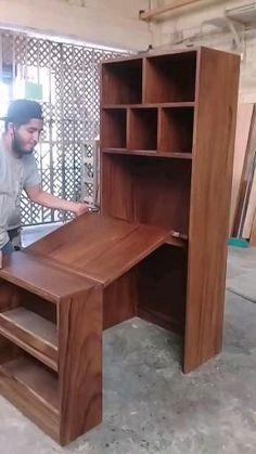 Folding Furniture, Bedroom Furniture Design, Smart Furniture, Space Saving Furniture, Home Decor Furniture, Furniture Decor, Compact Furniture, Tiny House Furniture, Woodworking Skills