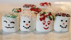 Marshmallows, candy melts and sprinkles can make for a great rainy day kids crafts.  We created faces, snowmen and a Christmas tree.