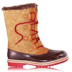 Cute and warm! This top sellers are now in a spectacular light brown color. The lightweight all-terrain boots with faux-fur trim feature a soft, quilted body, a lace-up design for a secure fit and a treaded sole for traction.Pair these great boots with the ever trendy Plaid Toggle Wrap!FEATURES•Treaded sole for traction•Red lace-up design for a secure fit•Soft quild body helps keep feet warm•Espresso colored upper with tan quilted pattern•&nbs...