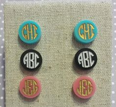 Engraved Acrylic Monogram Earrings by AprilElaineCreations on Etsy