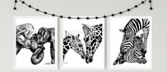 Mother and Baby Elephant,Giraffe, Zebra nursery prints,mummy and baby animal art