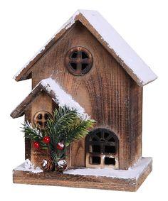 Love this 9.8'' Wooden House Figurine by GCA International on #zulily! #zulilyfinds
