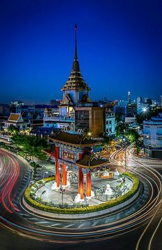 Chinatown Gate Bangkok Thailand, on the back is The Golden Buddha temple.