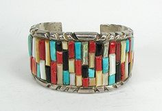 Most often seen in Navajo stone work, cornrow inlay has the stone pieces all laid parallel, like corn kernels on a cob.
