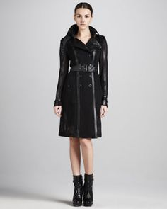 Mesh/Leather Trenchcoat by Burberry London at Bergdorf Goodman.