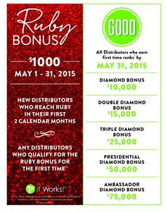 Did you miss the deadline for the Ruby bonus with It Works? The bonus is back! Join in the month of May and be eligible to earn the Ruby bonus of $1000.  Let me show you how to work social media No inventory/no parties 3000+ graphics for your use when you join under my team Join today and you have until the end of July (2 FULL CALENDAR MONTHS) to earn that bonus!! PM me. Let's talk about how this crazy wrap thing can change your life!! Jen 308-991-3775 www.nebraskaskinnywraps. com