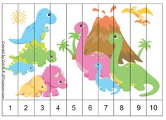 Printable number sequence puzzles | Part of the Dinosaur printables pack by 3…