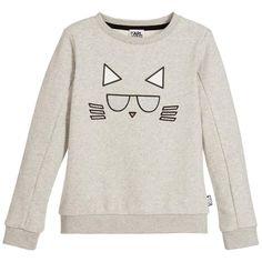 Karl Lagerfeld Girls Grey Choupette Sweatshirt
