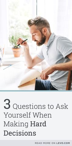 It's time to stop sweating over it! These are the 3 Productive Questions to Ask Yourself When Making Hard Decisions. @levoleague www.levo.com