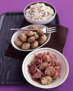 Warm German Potato Salad - Bacon, red onion, whole-grain Dijon mustard, and white-wine vinegar give this warm German potato salad its assertive flavor. This salad is the perfect accompaniment to grilled sausages, such as bratwurst.