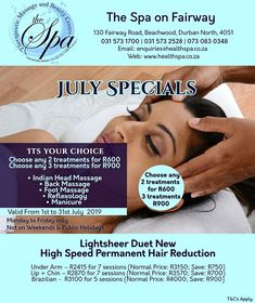 Spa Specials, Spa Treatments, Check