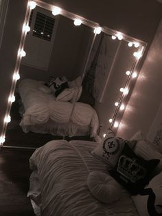 pinterest: @ nandeezy † Vanity, Mirror, Bed, Furniture, Home Decor, Painted Makeup Vanity, Homemade Home Decor, Lowboy, Stream Bed
