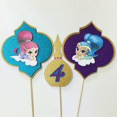 Shimmer and Shine cake bunting Shimmer And Shine Characters, Shimmer And Shine Cake, 4th Birthday Parties, 5th Birthday, Birthday Ideas, Birthday Cake, Aladdin Party, Bday Girl, Boy Costumes