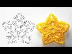 How to crochet a ball flower (long stitch . How to crochet . How to crochet a ball flower (long stitch . How to crochet a ball flower (long stitch . Crochet Star Patterns, Christmas Crochet Patterns, Crochet Stars, Crochet Motifs, Crochet Snowflakes, Crochet Diagram, Diy Crochet, Crochet Crafts, Crochet Flowers