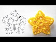 星のモチーフの編み方【かぎ針編み】How to Crochet Star Motif - YouTube