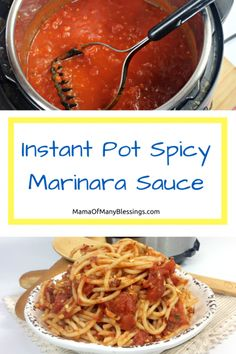 This Instant Pot Spicy Marinara Sauce is a great addition to many meals. If you're looking for a little bit of kick to add into your recipes, you're going Spicy Spaghetti, Spaghetti Dinner, Sauce Recipes, Real Food Recipes, Homemade Sauce, Marinara Sauce, Pressure Cooker Recipes, Tasty Dishes, Organic Recipes