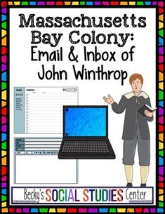 Massachusetts Bay Colony - John Winthrop & the. by Becky's Social Studies Center Middle School Activities, School Resources, Seventh Grade, Eighth Grade, Write An Email, Email Address, Massachusetts Bay Colony, Colonial America, Teaching History