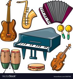 Musical instruments icons set vector image on VectorStock Musical Instruments Clipart, Musical Instruments Drawing, Wooden Musical Instruments, Free Vector Images, Vector Free, Christmas Wooden Signs, Fruit Icons, Flashcards For Kids, Pumpkin Vector