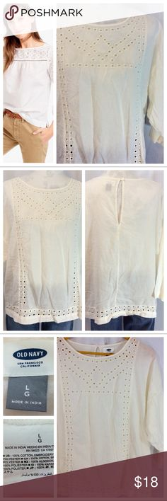 """Eyelet Tunic Elegant cotton Tunic Top with Eyelet detailing. Lightweight pull-over design with single button closure at back neck. 3/4 sleeve and non-restricting waist. Generous size L, Measurements when laying flat: 27"""" chest, 25"""" length. EUC Old Navy Tops Tunics"""