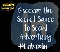 Discover the Secret Sauce to Social Advertising:  Are you using LinkedIn to your advantage??  At Eeden Social Media Marketing we generate leads, drive website traffic, and build brand awareness!  Marketing on LinkedIn helps you engage a community of professionals to drive actions👌  Contact us today for a free estimate or quotation.  Mariska Van Eeden #EedenSocialMediaMarketing  Www.eedenmarketing.com Info@eedenmarketing.com Mariska@eedenmarketing.com