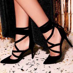Swear In Black Lace up Pointy Heels