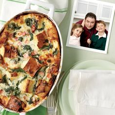 Emeril's Christmas morning breakfast bake: This luscious breakfast fits the bill and, best of all, will satisfy adults and kids alike. Brew a big pot of coffee: It's a meal your guests will want to linger over. Baked Breakfast Recipes, Breakfast Bake, Brunch Recipes, Breakfast Casserole, Breakfast Strata, Egg Strata, Savory Breakfast, Egg Casserole, Breakfast Cookies