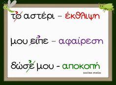 Greek Language, Speech And Language, School Lessons, Lessons For Kids, Learn Greek, Preschool Education, Teaching Methods, Grammar Worksheets, School Themes