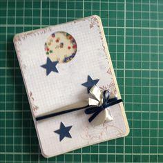 Cartão de natal em scrapbooking da linha prata. Shaker card.
