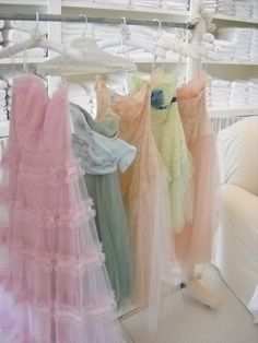 Vintage party dresses....so beautiful...lace ....ruffles