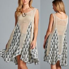 The TIEMANN print crochet tunic dress IVORY Crochet, tunic dress featuring an asymmetrical hemline with contrasting print fabric. Flowy and breezy, this tunic can be worn with a slip inside or as a beach cover-up. Versatile piece. Unlined. Sheer. Lightweight. 70%ACRYLIC 30%POLYESTER ️NO TRADE PRICE FIRM 10% OFF BUNDLES Dresses