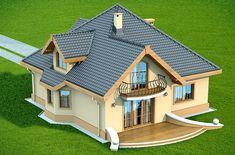 DOM.PL™ - Projekt domu DN Magnolia CE - DOM PC1-20 - gotowy koszt budowy House Roof Design, Village House Design, Home Building Design, Facade House, Building A House, House Plans Mansion, Bungalow House Plans, Bungalow House Design, Dream House Plans
