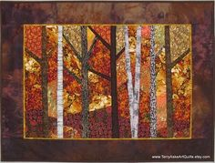 fall art quilts | Blazing Autumn Trees Quilted Wall Hanging by Terry Aske Art Quilts