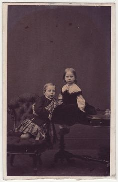 Future Kaiser Wilhelm II with sister, Princess Charlotte, most probably in a visit to England, 1860s.  Note that Willy is wearing a kilt. How cute!